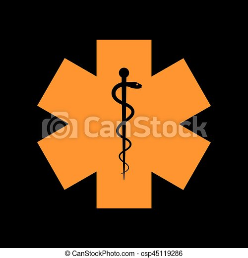 Medical symbol of the Emergency or Star of Life. Orange icon on black  background.