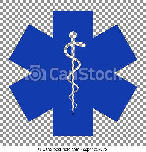 Medical symbol of the Emergency or Star of Life. Blue icon on tr - csp44252772