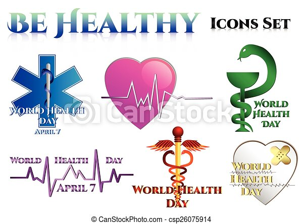 Medical Symbols On White World Health Day Star Of Life Heart With