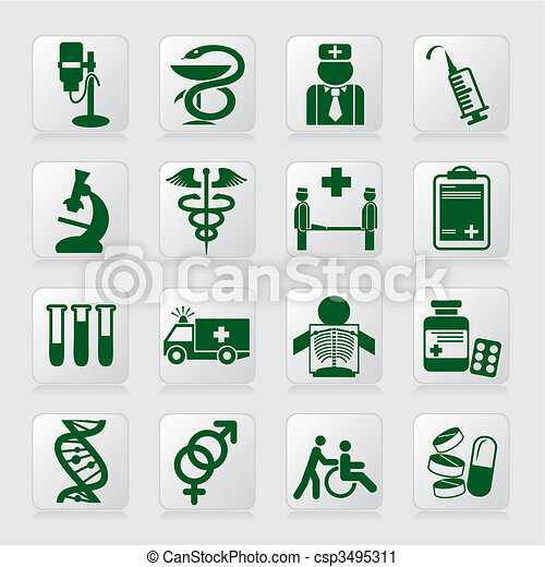 Set Of Vector Icons Of Medical Symbols And Signs Vector Clip Art
