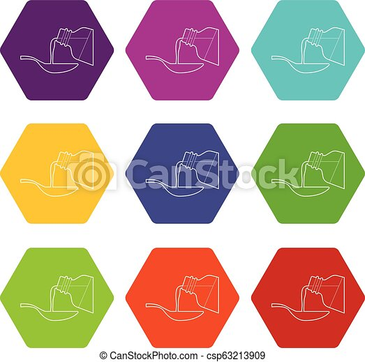 Medical syrup icons set 9 vector - csp63213909