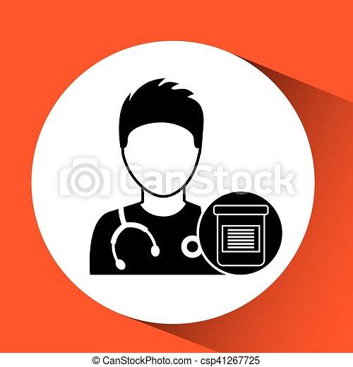 medicatie, charatcer, capsule, ontwerp, verpleegkundige, pil - csp41267725