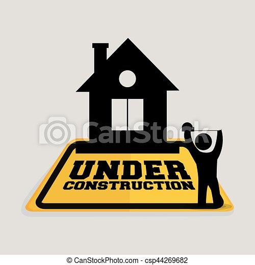 Bajo la cinta de la casa de los trabajadores de la construcción midiendo - csp44269682