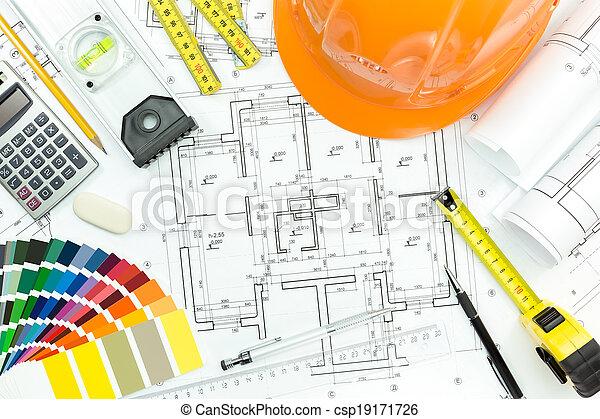 medición, lugar de trabajo, herramientas, cianotipo, casco, ingeniero - csp19171726