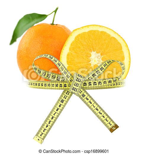Naranja con cinta de medida, concepto de dieta - csp16899601