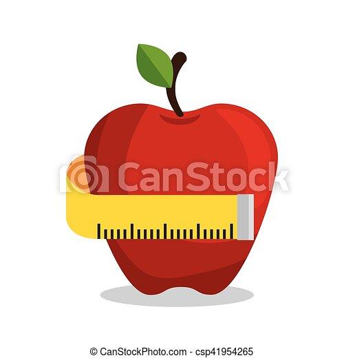 Manzana Midiendo El Deporte Nutritivo Apple Mide Vectores