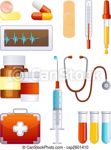 medicin, sätta, ikon - csp2601410