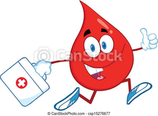 medicin väska, droppe, blod - csp15276677