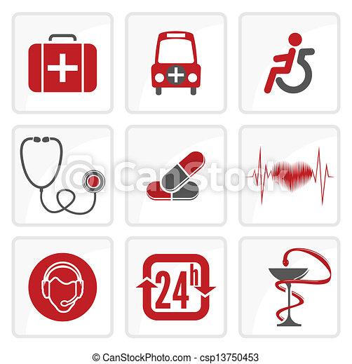 medicina, brezo, cuidado, iconos - csp13750453