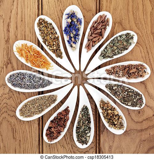 medicina herbácea, natural - csp18305413