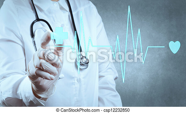 medicina, moderno, computadora, trabajando, doctor - csp12232850