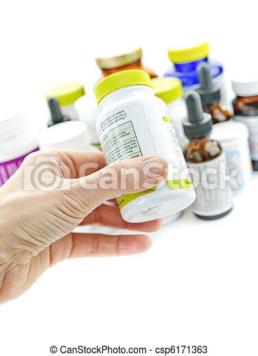 medicina, teniendo botella, mano - csp6171363