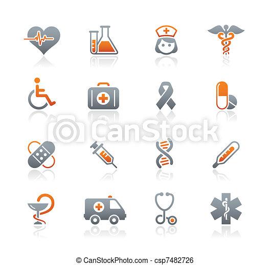 medicina, y, brezo, cuidado, iconos - csp7482726