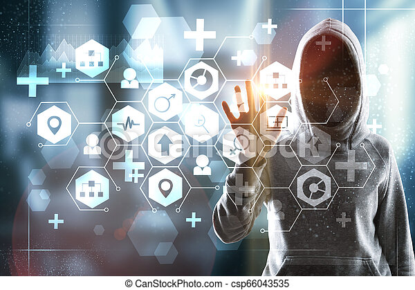 Medicine and hacking concept - csp66043535
