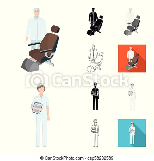 Medicine and treatment cartoon, black, flat, monochrome, outline icons in set collection for design. Hospital and equipment vector symbol stock web illustration. - csp58232589