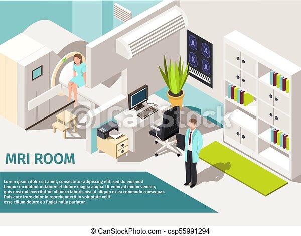 Medicine concept MRI scan and diagnostics Patient lying scanner machine in  clinic. - csp55991294