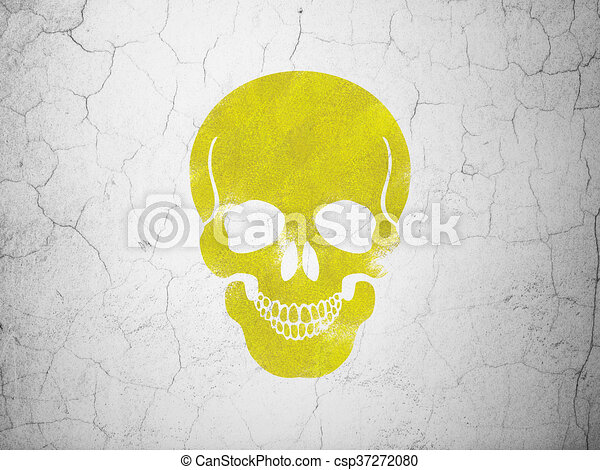 Medicine concept: Scull on wall background - csp37272080