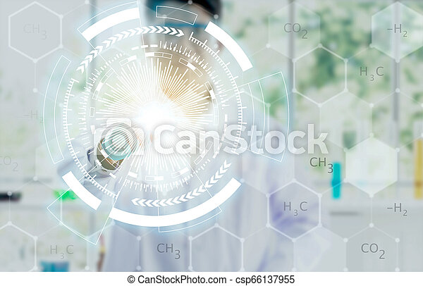 Medicine doctor hand working with modern computer interface as concept. - csp66137955