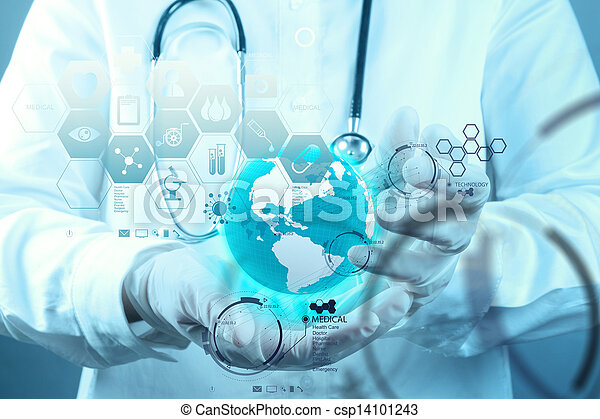 Medicine doctor hand working with modern computer interface as medical concept - csp14101243