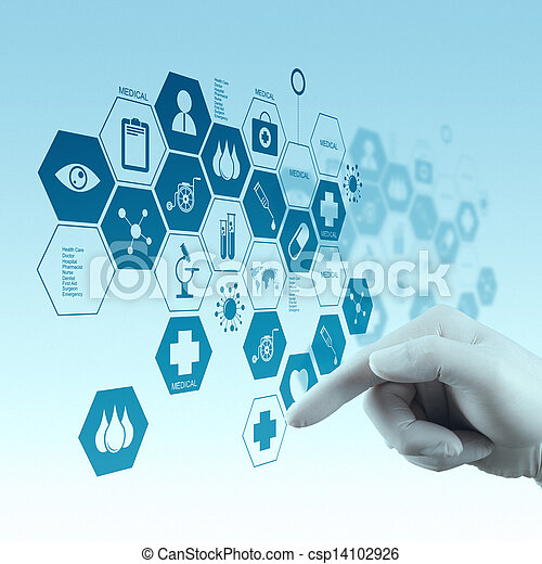 Medicine doctor hand working with modern computer interface - csp14102926