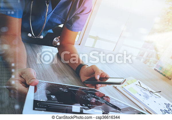 Medicine doctor hand working with modern digital tablet computer interface as medical network concept - csp36616344