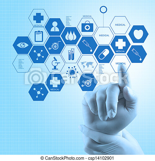 Medicine doctor hand working with modern computer interface as medical concept - csp14102901