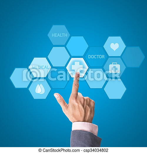 Medicine doctor hand working with modern computer interface as medical concept - csp34034802