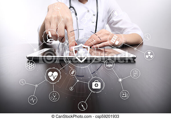 Medicine doctor with modern computer, virtual screen interface and icon medical network connection. medical concept. - csp59201933