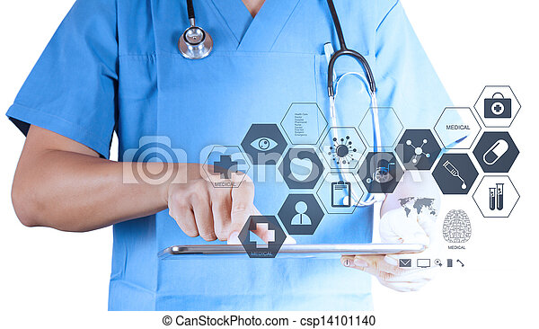 Medicine doctor working with modern tablet computer and virtual interface as medical concept - csp14101140