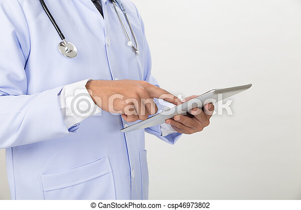 Medicine doctor working with modern tablet computer - Medical technology concept. - csp46973802
