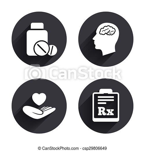 Medicine Icons Tablets Bottle Brain Rx Medicine Icons Medical