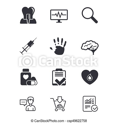 Medicine Medical Health And Diagnosis Icons Blood Syringe