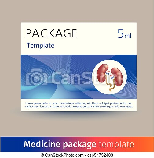 Medicine package template design with realistic human organ heart