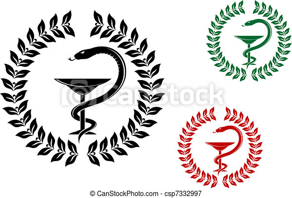 medicine symbol snake on cup in laurel wreath