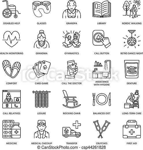Vector Line Ikone der älteren und älteren Pflege. Pflegeheim - alte Leute, Rollstuhl, Freizeit, Krankenhausrufknopf, Medikamente. Lineare Piktogramme mit editierbarem Strich für Websites - csp44261828