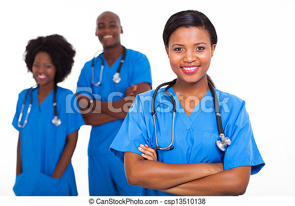 medicinsk, arbejdere, amerikaner, afrikansk, unge - csp13510138