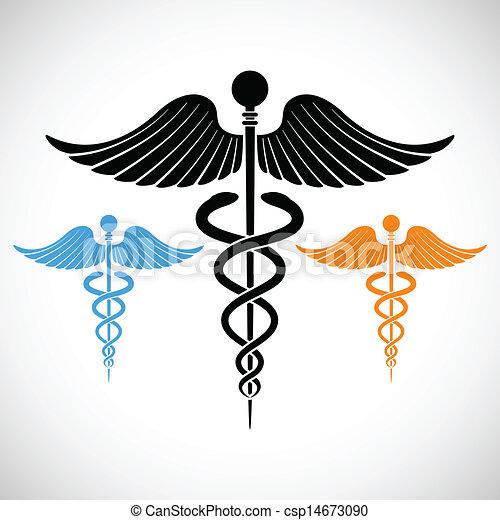 medicinsk, caduceus, farverig, tegn - csp14673090