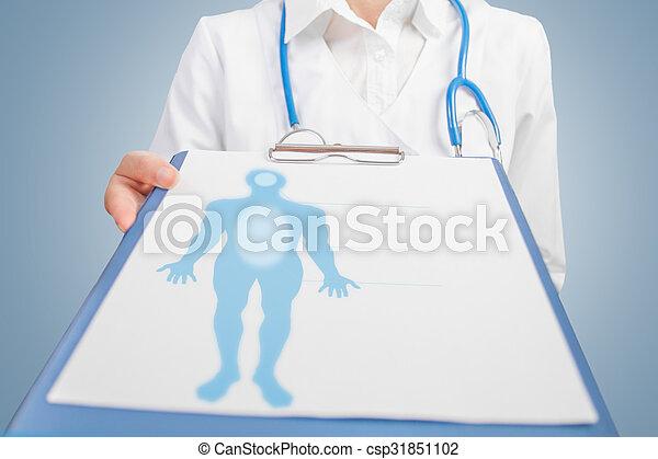 medicinsk mand, silhuet, blank - csp31851102