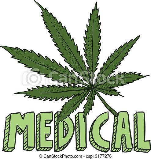 medico, marijuana, schizzo - csp13177276