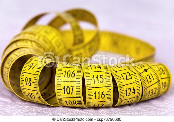 medida, amarillo, dieta, pérdida, peso, símbolo, cinta - csp78796680