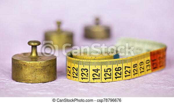 medida, dieta, pérdida, peso, pesas, retro, cinta, vendimia, cobre, concepto - csp78796676