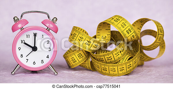 medida, dieta, pérdida, peso, reloj, alarma, cinta, concepto - csp77515041