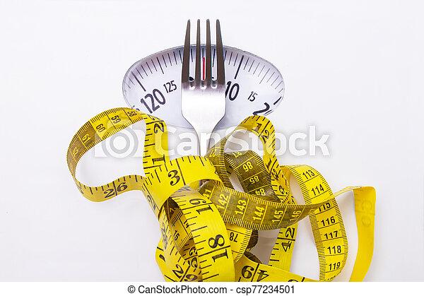 medida, peso, dieta, cinta, escala, concepto, tenedor - csp77234501