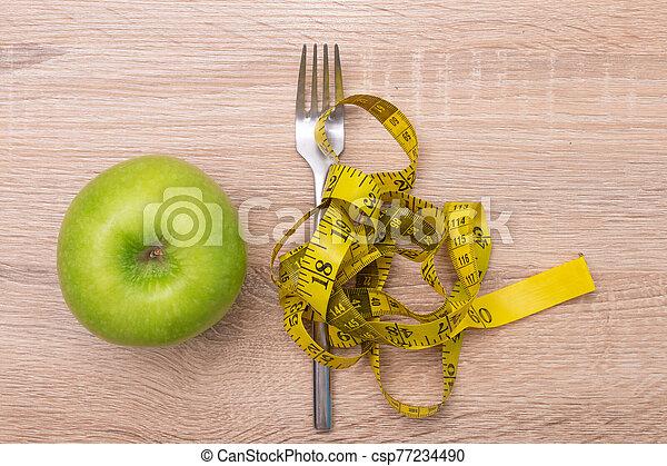 medida, peso, dieta, cinta, manzana, tenedor - csp77234490