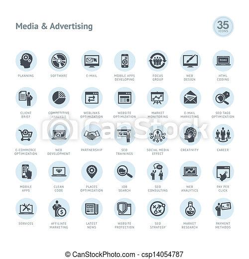 Eine Reihe von Medien- und Werbe-Icons - csp14054787