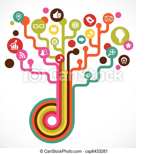 medien, sozial, baum, vernetzung, heiligenbilder - csp6433281