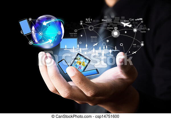 medier, moderne teknologi, sociale - csp14751600