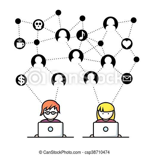medier, sociale, netværk, folk - csp38710474