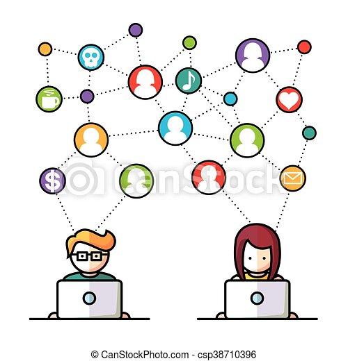 medier, sociale, netværk, folk - csp38710396