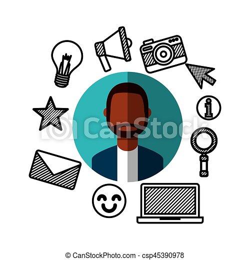 medier, sociale, netværk, iconerne - csp45390978